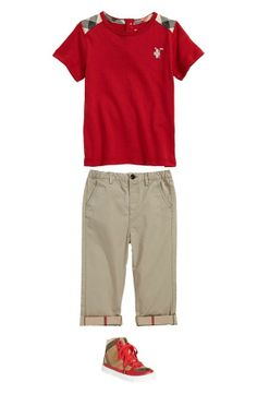 Weekend outfit - cute Burberry t-shirt, rolled cuff pants and high top sneakers.