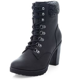 30c41cdb1e25 New Look Black Faux Shearling Cuff Lace Up Block Heel Ankle Boots ( 20) ❤