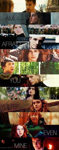 Tobias~Tris (DIVERGENT), Katniss~Peeta (THG), Annabeth~Percy (PJO), Jace~Clary (TMI), Hermione~Ron (HP), Ginny~Harry (HP)