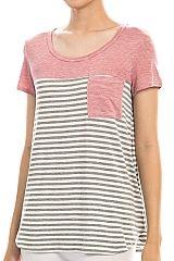 Striped Contrast Pocket Detail Top