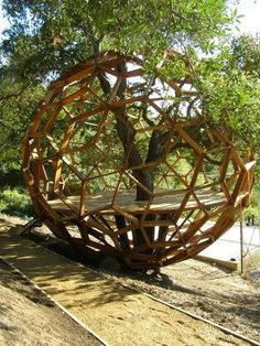 Geodesic tree house. On the ground but its supposed to be a tree house.