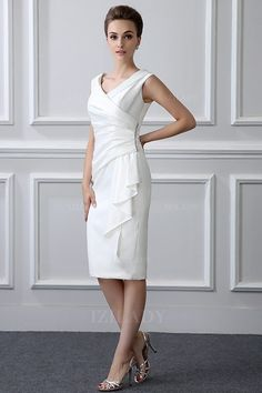 Sheath/Column V-neck Tea-length Satin Mother of the Bride Dress