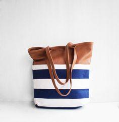 Nautical Tote Bag / Sailor Tote Bag / Canvas Bag / by morelle