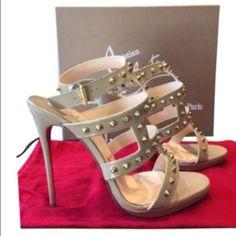 ✨Christian Louboutin high hills✨ ✨Christian Louboutin ✨Beige with gold spikes Christian Louboutin Shoes Heels