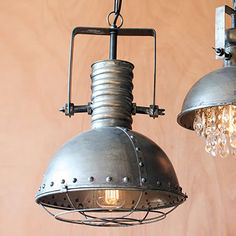 """Large Metal Pendant with Cage Product Dimensions: 12""""d x 17industriall Industrial vintage style hanging pendant light fixture metal"""