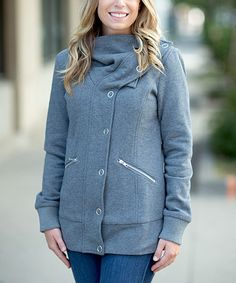 Another great find on #zulily! Charcoal Button-Up Coat #zulilyfinds