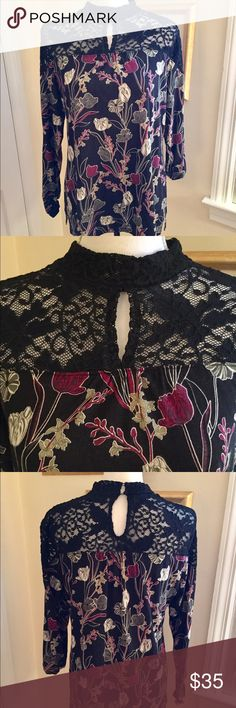 Keyhole, Lace & Flowers Blouse 🌹🌸 Gorgeous black lace in front and back. Lovely colors and pattern. Super Flattering and super comfy! Dress up or down. Worn once 🌹🌹🌹 Style & Co Tops