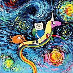 Adventure Time Inspired Art PRINT - Starry Night Fin and Jake - Cartoon - van Gogh Never Went On An Adventure - Art by Aja 8x8, 10x10, 12x12, 20x20, and 24x24 inch sizes