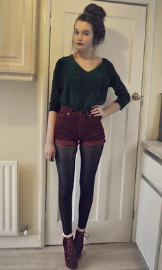 Love this. on Kaleidoscope (sweater, shorts, tights, bootie)  http://kalei.do/Wfa2zIqGWfXveYse