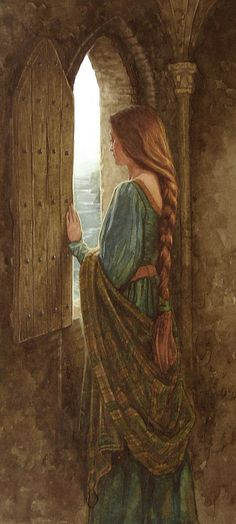 """The beautiful Eithlinn held captive in a tower"" illustration for the tale of ""Moytura"" from the book ""The Names Upon the Harp,"" a book of Irish Myths & Legends, written by Marie Heaney & illustrated by P. (Patrick James) Lynch, a famous Irish artist. Lady In Waiting, Pre Raphaelite, Medieval Fantasy, Celtic Fantasy Art, Celtic Art, Character Inspiration, Fairy Tales, Art Photography, Illustration Art"