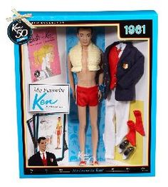 This Barbie Collector Vintage Varsity Ken doll doll wears Ken doll's classic red bathing suit and includes a reproduction of the 1964 Victory Dance fashion. Play Barbie, Barbie Dolls For Sale, Barbie Party, Barbie I, Vintage Barbie Dolls, Barbie World, Barbie And Ken, Vintage Toys, Retro Vintage
