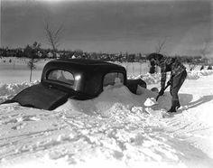 Car at Portland Avenue before Minnehaha Parkway following Armistice Day blizzard, Minneapolis, MN. 11/11/1940