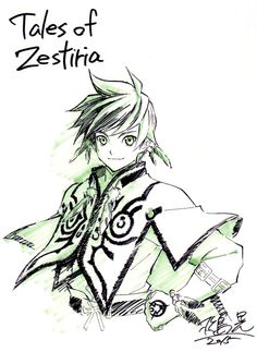 Scan of the Sorey postcard that comes with the Tales of Zestiria - Ufotable Staff Commemorative Book.