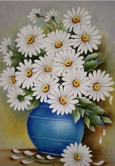 Daisy Painting, Fabric Painting, Fabric Art, Painting & Drawing, Illustration Blume, Flower Art Drawing, Scenery Paintings, Free Stencils, Flower Pictures