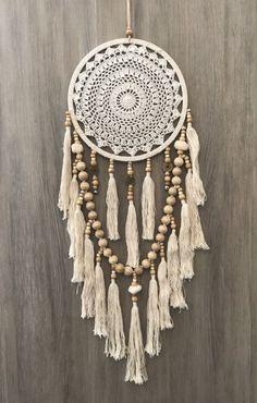 Cream 26.5cm x 85cm Crochet Web Boho Dream Catcher Pom Poms & Tassels