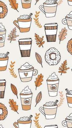Colorful fabrics digitally printed by Spoonflower - pumpkin spice latte fabric coffee and donuts fall autumn traditions off-white - - Add a pop of pattern with unique fabric, wallpaper & gift wrap. Cute Fall Wallpaper, Halloween Wallpaper Iphone, Holiday Wallpaper, Fall Leaves Wallpaper, Pumpkin Wallpaper, Thanksgiving Wallpaper, Fall Wallpaper Tumblr, Iphone Wallpaper Herbst, Aesthetic Iphone Wallpaper
