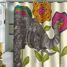 Elephant Shower Curtain by DENY designs. Love all the things you could do to decorate your bathroom with this as your base design!