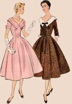 1950s Princess Dress w/ Deep V Neckline and Wide Collar McCalls 9956 Vintage 50s Sewing Pattern Size 16 Bust 34 UNCUT by sandritocat on Etsy