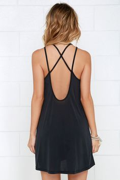 A number like the Loyal Ally Washed Black Backless Dress is sure to be a trusty companion! Lightweight, semi-sheer knit fabric travels from a rounded neckline into dual spaghetti straps that crisscross above a scooping open back. Relaxed-fitting silhouette offers effortless versatility!