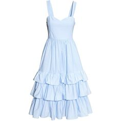 Cotton poplin dress (2,190 THB) ❤ liked on Polyvore featuring dresses, blue dress, flared midi skirt, pleated circle skirt, pleated dress and pleated skater skirt