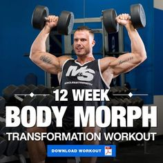 The BodyMorph 12 Week Transformation Workout to Help You Build Muscle is part of fitness - If you're looking to completely transform your physique, we've got the perfect workout for you! This program combines 3 types of training for max results! 12 Week Workout, Workout Plan For Men, Gym Workout Tips, Workout Programs For Men, Workout Diet, Weekly Workouts, Gym Workouts For Men, Fitness Programs, Street Workout