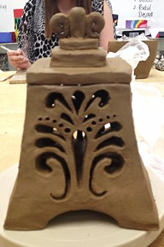 Clay lantern, would look great supersized and on a pedestal in the garden