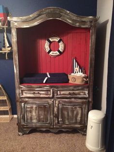 Armoire turned changing table - nautical nursery