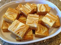 pumpkin cream cheese bars-- made with can pumpkin, angel food cake box mix and low-fat cream cheese