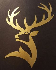 One Glenfiddich scotch whisky decal. There is no background. Shown gold decal applied to black surface and black decal applied to white surface. All stickers are masked for easy and quick application. Hirsch Silhouette, Deer Head Silhouette, Diy Vinyl Projects, Cool Woodworking Projects, Barrel Projects, Wood Craft Patterns, Deer Art, Art Corner, Scroll Saw Patterns
