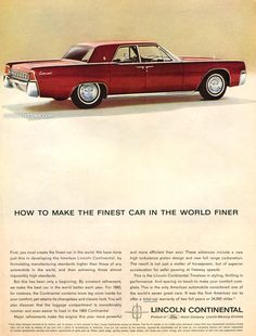 1963 Lincoln Continental - How to make the finest car in the world finer - Original Ad