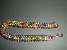 Multi colour BOX chainmail armband. FB: Tessa's chainmail workshops