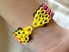 Rainbow Loom bracelet made from rubber bands