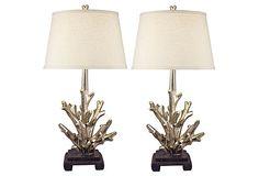 Silver Coral Sculpture Lamps, Pair on OneKingsLane.com