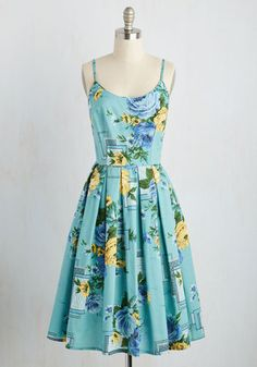 Cape May I Take a Message? Dress. Hold your calls - this aqua sundress will take you out of the office and into panache paradise! #multi #modcloth