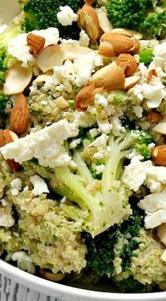 Quinoa with Broccoli Almond Pesto and Feta