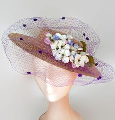Straw hat with veil and flowers, canotier with flowers, boater hat purple,Kentucky derby hat,Straw derby hat,Wide brim straw hat,Veiled hat