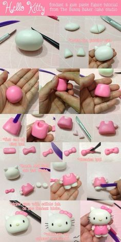 DIY fondant and gum paste Hello Kitty with Step-by-Step Tutorial Hello Kitty Fondant, Hello Kitty Torte, Bolo Da Hello Kitty, Chat Hello Kitty, Hello Kitty Birthday Cake, Hello Kitty Cupcakes, Kitty Kitty, Hello Kitty Cake Design, Fondant Toppers