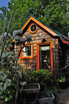 These cottage-style garden houses in the Mississippi Historic District of Portland were entirely hand built and recall the elegant architecture of the surrounding Victorian architecture the area is known for.