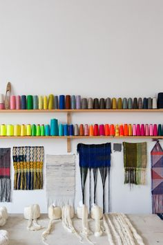 My weaving room - Ilse Acke (picture by Bart Kiggen) ***Those spools are beautiful!!!