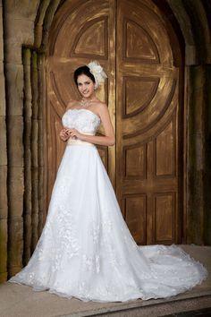 A-Line Strapless Satin Organza Chapel Train Empire Waistline Wedding Dress