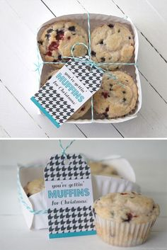 such a great idea! fold a paper plate to make a cute basket for muffins or cookies + a great Christmas tag printable