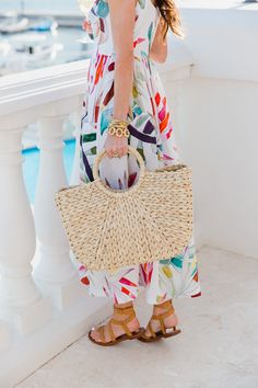 mara hoffman, spring fashion, spring style, bermuda, spring dresses, colorful dresses, hat attack, straw tote, tory burch, gladiator sandals