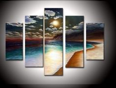 100% Hand-painted Wood Framed on the Back Artwork the Yellow Beach High Q. Wall Decor Landscape Oil Painting on Canvas 5pcs/set Mixorde null http://www.amazon.com/dp/B009VG1U7Q/ref=cm_sw_r_pi_dp_YAQ6ub006SPGT
