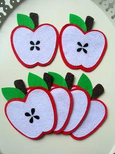 Felt handmade cute delicious apple coasters by Lilamina on Etsy, $20.00