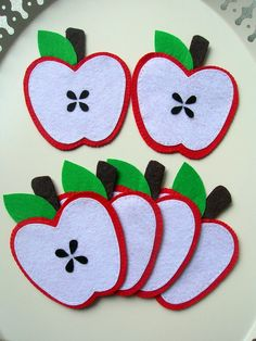 Felt handmade cute delicious apple coasters by Lilamina on Etsy, $20.00