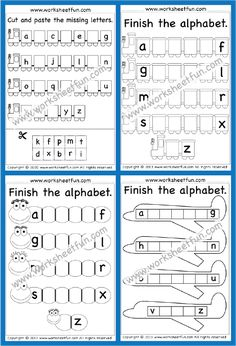 Cut And Paste Worksheets, Letter Worksheets, Kindergarten Math Worksheets, Free Printable Worksheets, Math Activities, Printables, Easy Math, Uppercase And Lowercase Letters, Lower Case Letters