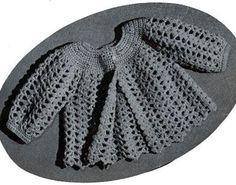 Hermosa chambrita tejida de crochet de los años 40 o 50