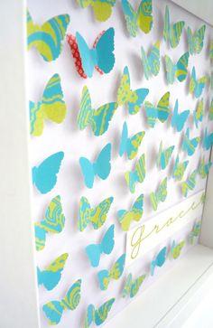 Handmade paper art. Butterflies keepsake in blue/green