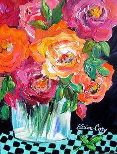Still Life Original Painting Roses 11 x 14 Art by ElainesHeartsong