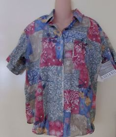 SOLD! CASEY & MAX WOMENS BUTTON DOWN TOP MULTI COLOR FLORAL MEDIUM NEW many more great clothes to see. LOOK!  http://r.ebay.com/Bni5bI